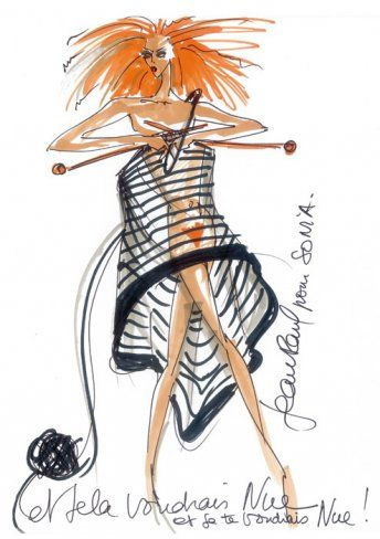 Coming from the Book 'La Femme Rykiel'- Fashion Illustrations of Sonia Rykiel by Christian Lacroix and Jean Paul Gaultier