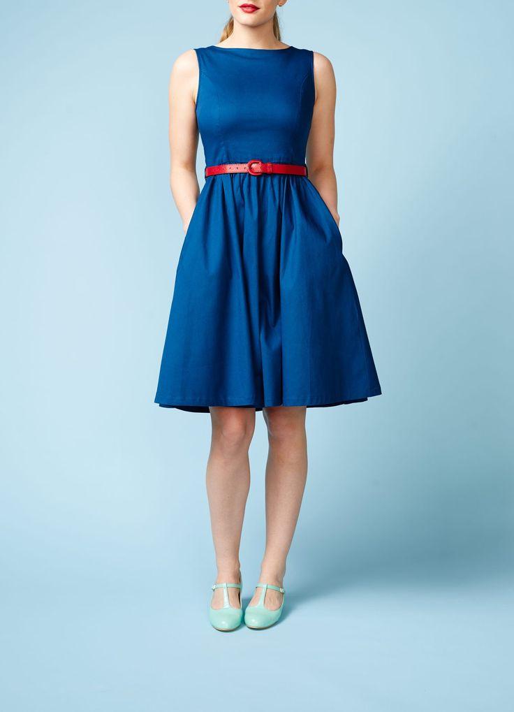 Lindy Bop: Blå swingkjole uden ærmer - Dress the bird