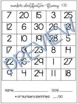 Number Identification Fluency Assessments -- 1-30 / 1-50