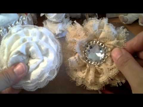 Easy shabby chic flower tutorial (no sew and no glue) - YouTube