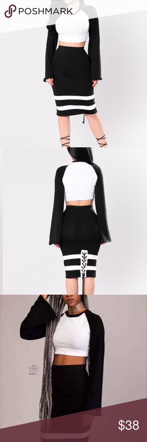 Two piece Black and white skirt set with flared arm Skirts Midi