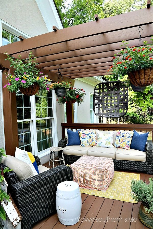 Nice Plants Hanging Off Arbor Savvy Southern Style: The Summer Deck 2017