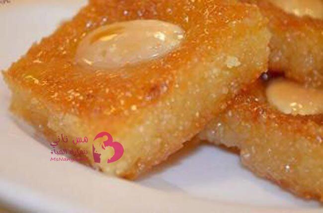 طريقة عمل البسبوسة بالقشطة Food Arabic Dessert Basbousa Recipe