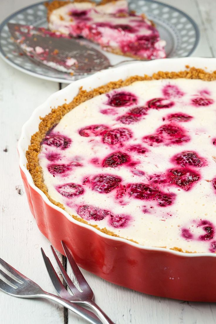 Raspberry quark pie