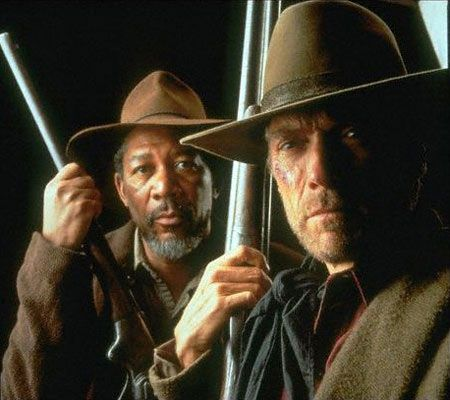 """Unforgiven. Clint Eastwood and Morgan Freeman. """"When you kill a man, you take all he's got and ever will have."""""""