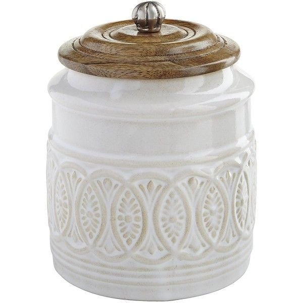 Pier 1 Imports Ivory Farmhouse Small Canister ($27) ❤ liked on Polyvore featuring home, kitchen & dining, food storage containers, natural, country canisters, pier 1 imports, ivory canisters and cream canisters