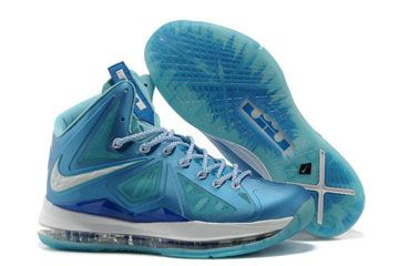 Nike King LeBron James 10 Ice Blue-White Mens Sneakers