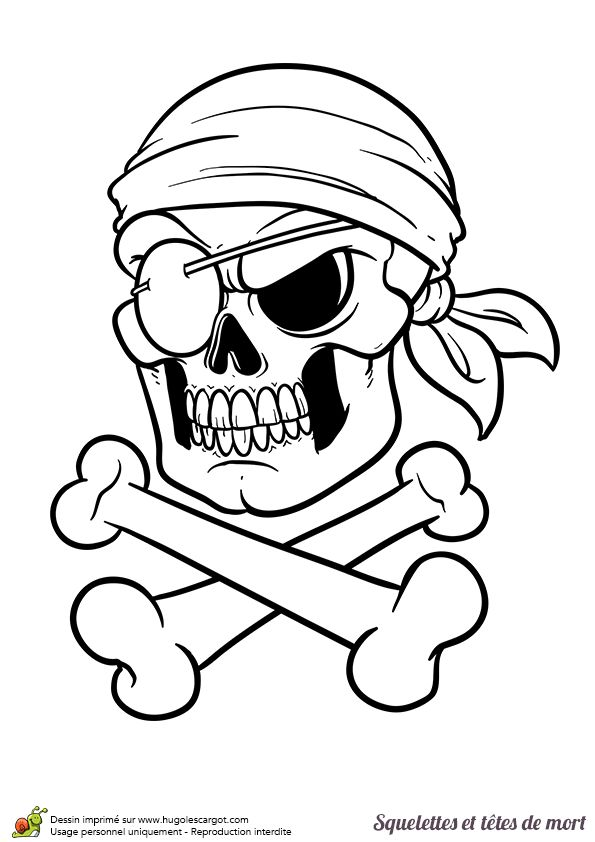 coloriage d une t te de mort pirate tr s agressif avec un. Black Bedroom Furniture Sets. Home Design Ideas