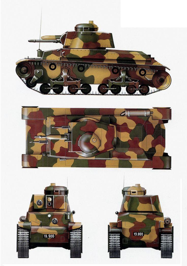 Skoda LT vz.35 con el esquema completo de camuflaje del ejercito checoslovaco, perteneciente al 1st Regimiento de Vehiculos de Asalto. la colocacion de la areas de verde oscuro, amarillo ocre y marron tierra, diferia substancialmente de un vehiculo a otro. Cada tanque fue por tanto original en su pintura.