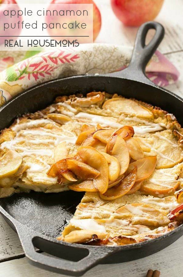 This giant Apple Cinnamon Puffed Pancake bakes in the oven - no more standing at a hot stove flipping dozens of pancakes. It's the perfect fall breakfast!