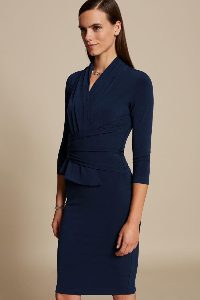 dfe8a6346e9 Arlington Dress Navy Jersey | Office Attire | Dresses, Peplum dress ...