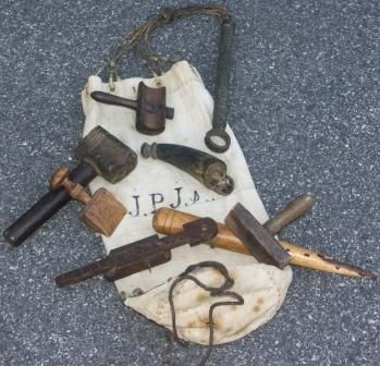 19th century sailmaker canvas bag with initials. Containing 7 hand tools.