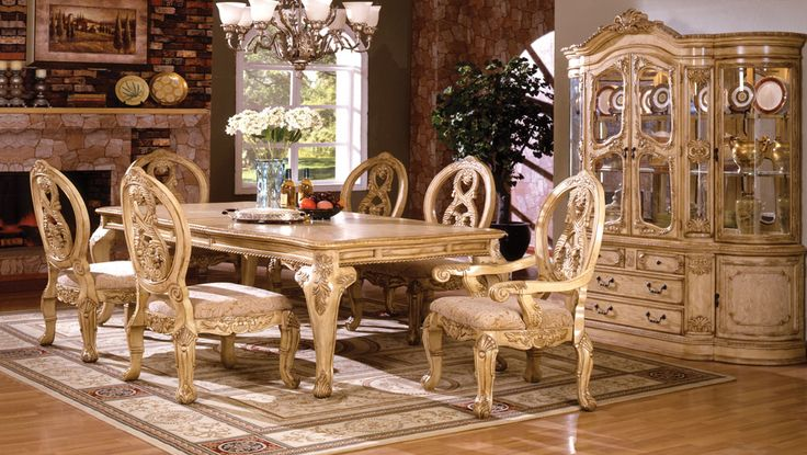 A.M.B. Furniture & Design :: Dining room furniture :: Dining table sets :: White Wash Finish :: 7 pc Tuscany III antique white finish wood elegant formal style dining table set with intricate designs