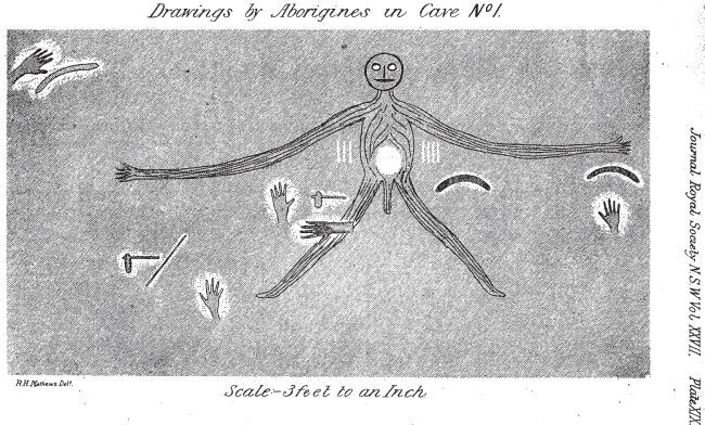 Drawing of Baiame Cave by R.H. Mathews for Royal Society Image by: R.H. Mathews Image copyright owner: Out of copyright