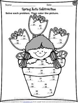 Subtraction Worksheets : spring subtraction worksheets first grade ...