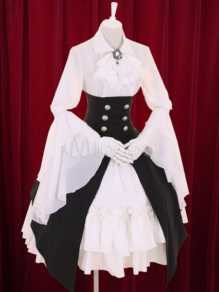 Multicolor Lolita Robe boutons Tiered Cotton Dress
