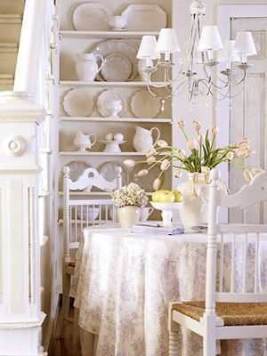 all white dining nook: Dining Rooms, Cottages Styles, Dining Area, All White, Breakfast Nooks, Shabby Chic, Cottages Decoration, White Dishes, Dining Nooks