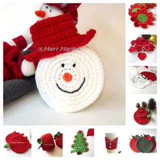 Thinking of Christmas Crochet Coasters Snowman ~ Crochet Colorful