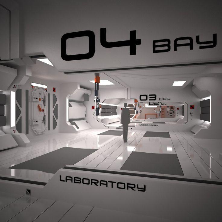 3d futuristic interior scene model