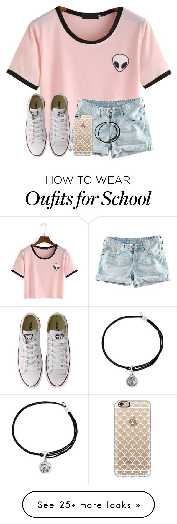 """""""Let's Hope I'm Not Late To School Today!"""" by twaayy on Polyvore featuring H&M, Converse, Casetify and Alex and Ani"""