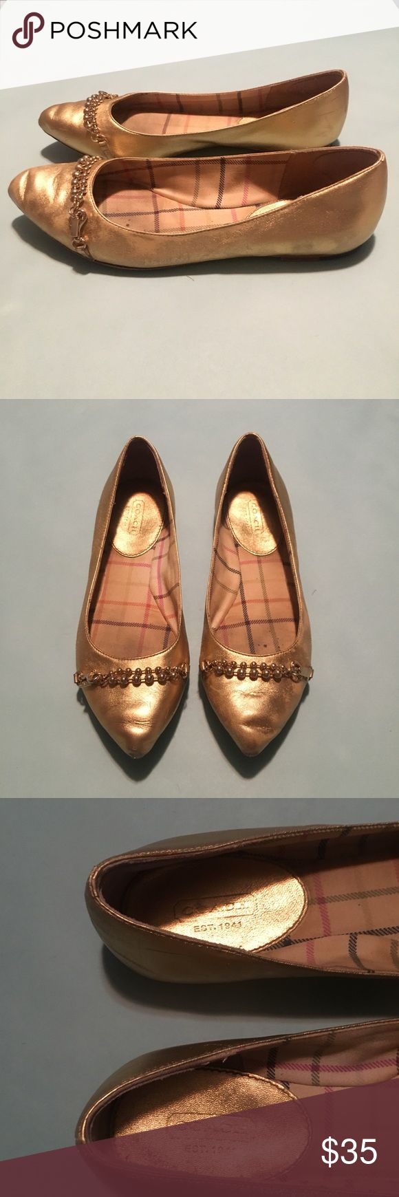 Gold coach flats with chain Gold coach flats with tiny chain around the toes. Size 7. A little worn but still has life left! $35 obo Coach Shoes Flats & Loafers