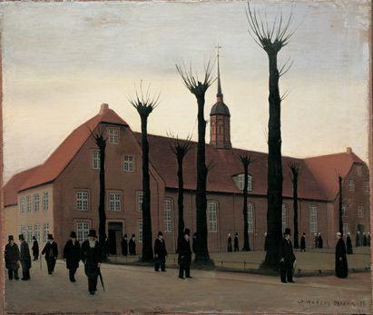 Christiansfeld // painting by Jeppe Madsen-Ohlsen (1891-1948): Efter gudstjenesten / After church service, 1938