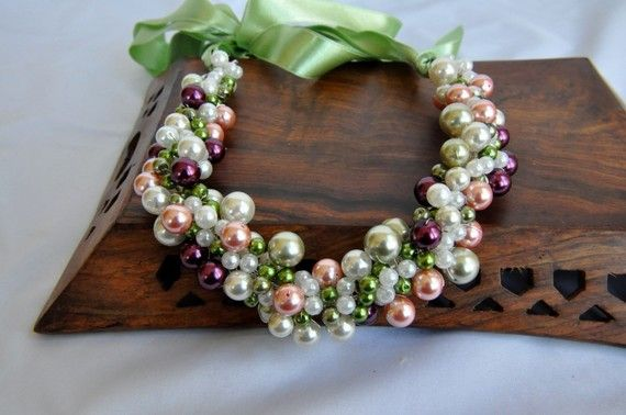 AH My Bridesmaids WILL have this!!! So gorgeous! Handmade Beach Weddings Pearl  Necklace by HMbySemraAscioglu, $67.00