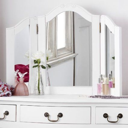 Juliette Shabby Chic Antique White Dressing Table Mirror ONLY