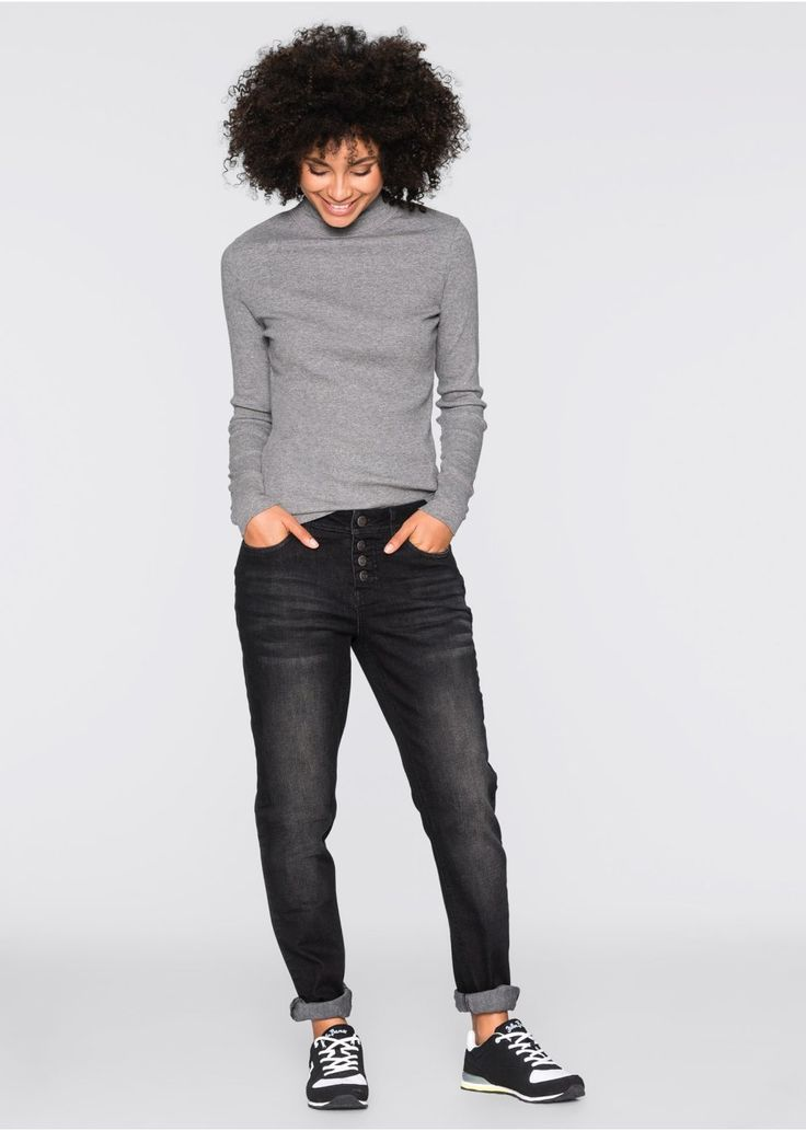 Ležérne boyfriend džínsy, 5-vreckový štýl, normálna výška pása, moderne vybielené, vnútornbá dĺžka vo veľ. 42 cca 79 cm, pranie v práčke. Vrchný materiál: 95% bavlna, 4% polyester, 1% elastan