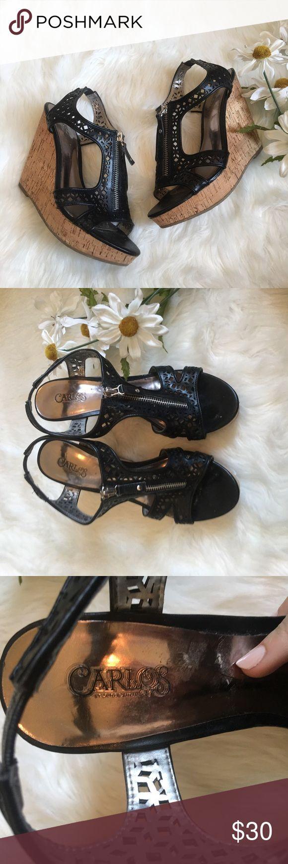 Carlos Santana black zip up lace look wedges Perfect condition, very comfortable, no flaws Carlos Santana Shoes Wedges
