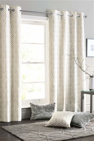 Natural Collection Luxe Opulent Geo Jacquard Eyelet Curtains