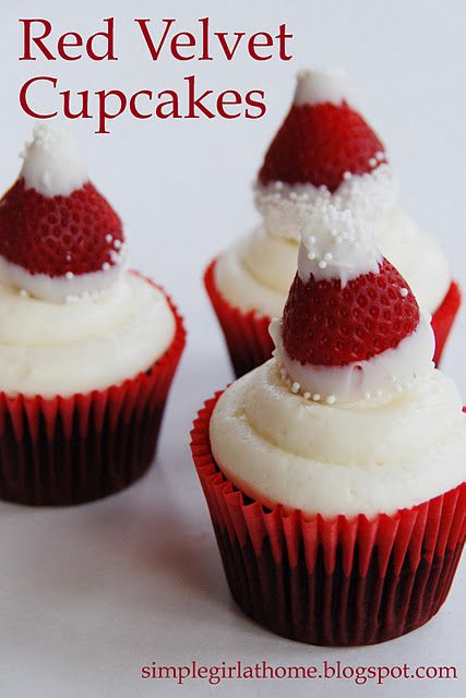 Red Velvet Cupcakes with Santa Hats