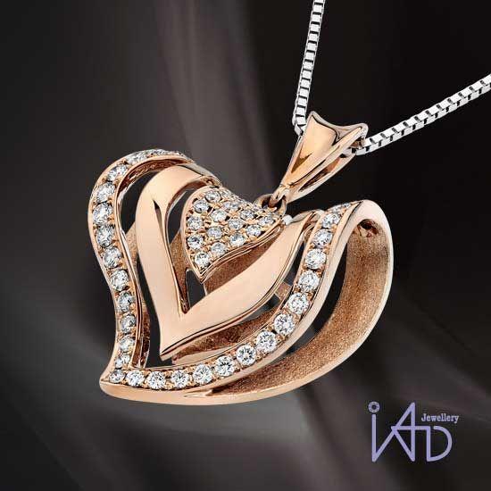 18K Rose Gold 3D coração pingente de diamante (Hong Kong), S06105P, IAD Jewellery