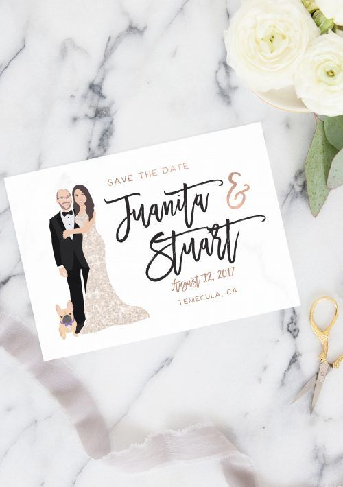 Cool Our couple portrait Save the Date cards feature illustrated versions of the bride and groom