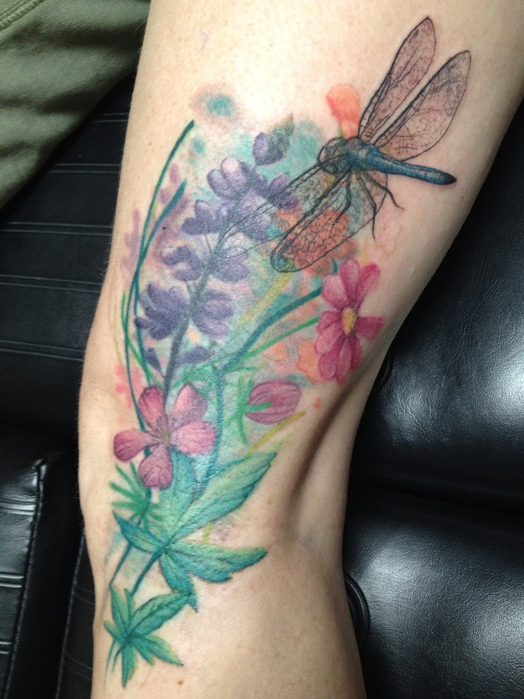 Wild Flowers with Dragonfly tattoo. Done by Christina Walker at Lucky Bamboo Tattoo