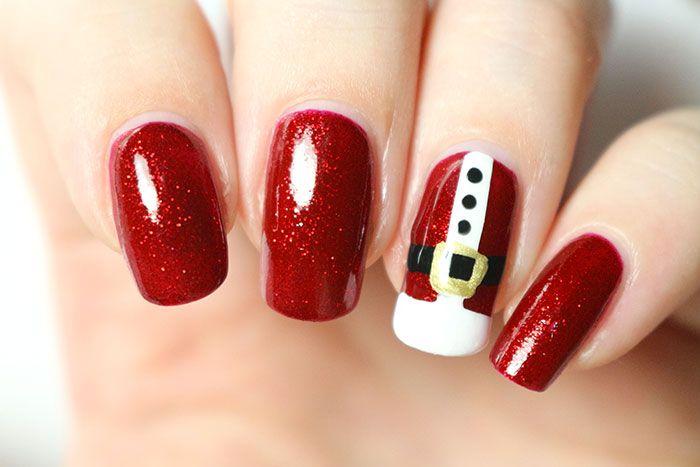Oh,oh,oh... bonjouuur! On continue dans notre lancée avec ce nail-art de Noël que j'ai adoré porter, à l'effigie d'un célèbre barbu tout de rouge vétu. Je crois vous l'avoir déjà dit (une bonne diz... nail art de noel vernis ongles