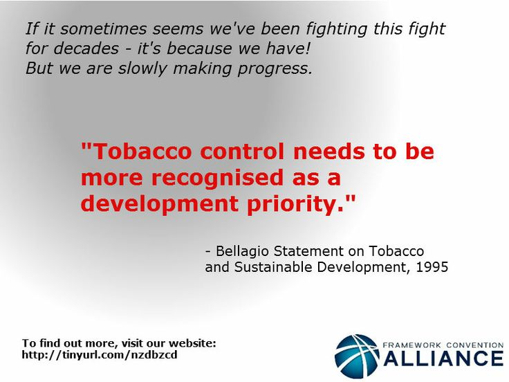 The Bellagio Statement, 1995, was one of the steps towards creating the global tobacco control treaty, the WHO Framework Convention on Tobacco Control.