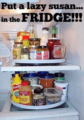 Lazy Susan's are great for keeping the refrigerator organized! Allowing you to see everything you have in stock, making items more accessible and staying on top of expiration dates. More great ideas on our site!   Why didn't we think of this????