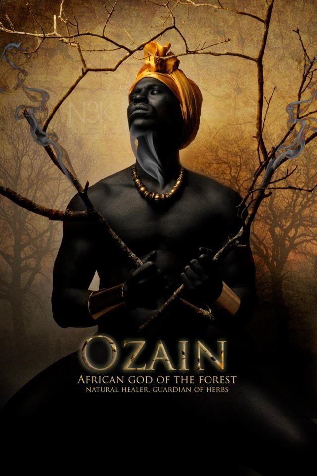 Yoruba African Orishas; Mythology: Ozain, African god of the forest, nature healer, guardian of herbs
