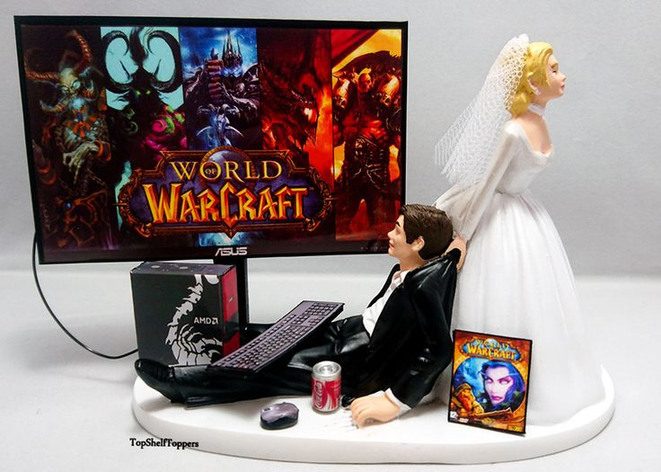 Funny Wedding Cake Topper Custom WOW Video Gamer  Xbox One/PS4 by TopShelfToppers on Etsy