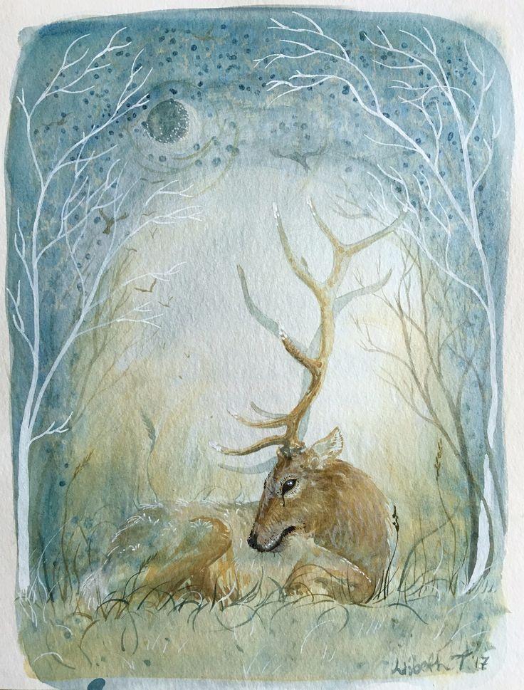 "Original Art: ""Winter Moon"", deer, stag, cervid, cervidae, elk, moose, fallow, mammal, animal, cute, winter, nordic, scandinavian, antlers"