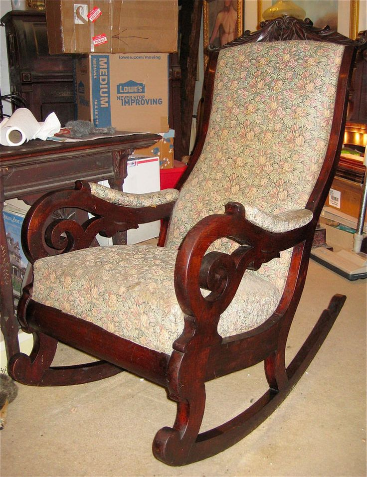 Victorian Carved Walnut Lincoln Rocker Rocking Chair Ca