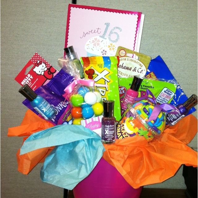 Sweet 16 Birthday Basket I Made For My Niece Full Of All Kind Goodies Nail Polish Car Air Fresheners And Gas Gif