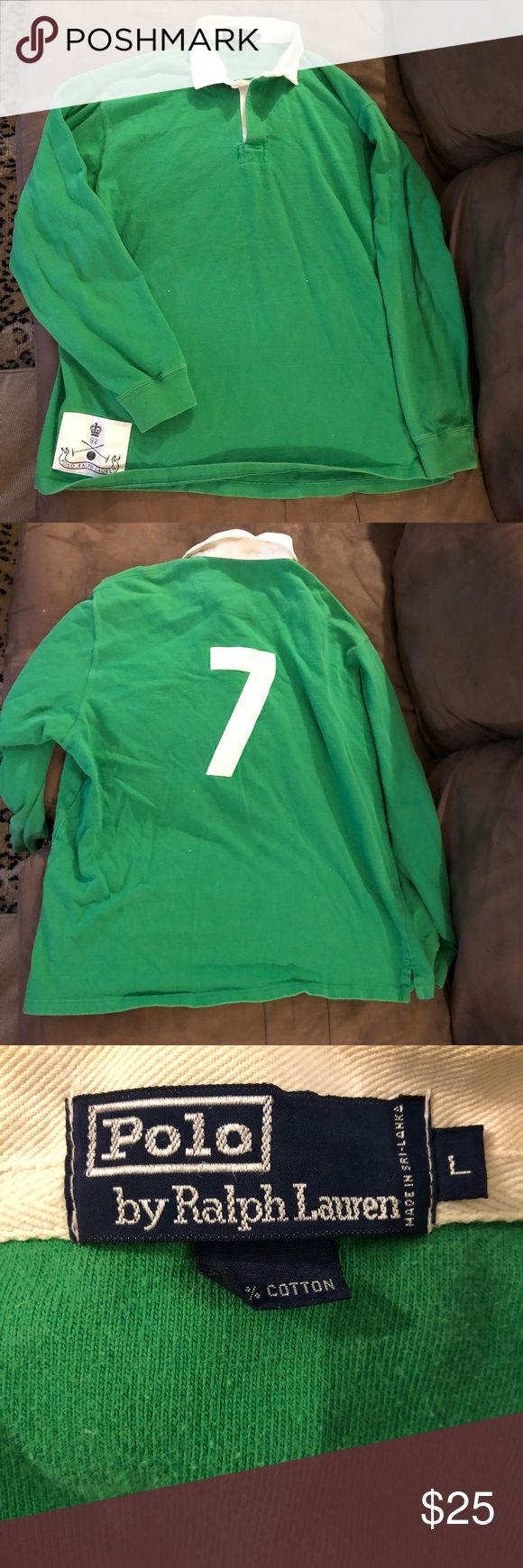 Polo Ralph Lauren Green Rugby Shirt L Polo Ralph Lauren Solid Green With White 7 Long Sleeve Rugby Shirt size L! Great condition! Please make reasonable offers and bundle! Ask questions! :) Polo by Ralph Lauren Shirts