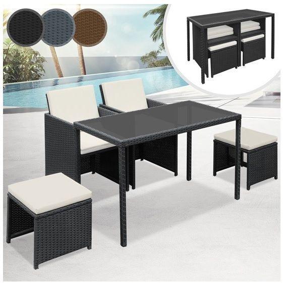 Patio Furniture Set Garden Rattan Square Table 5PC Outdoor Black Wicker  Armchair