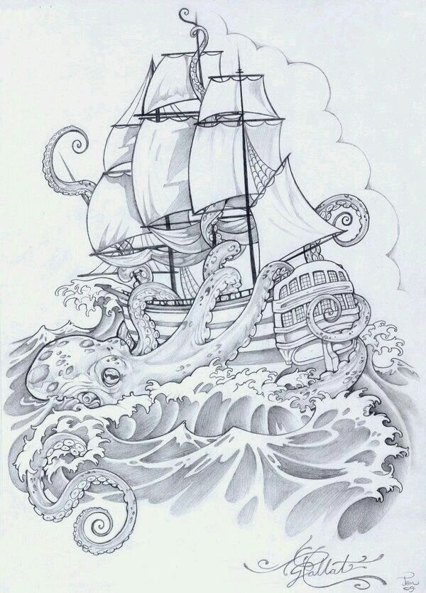 Octopus Shipwreck Drawing Best 25+ Pirate...