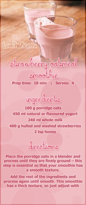 Strawberry Oatmeal Smoothie Recipe Pictures, Photos, and Images for Facebook, Tumblr, Pinterest, and Twitter
