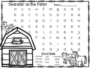Easy Beginner Word SearchesFarm Words: barn, horse, pig, cow, farmer, hay, goat, rooster, chicken, chick, catSight Words: can, see, go, the, little, it, is, amCheck out our Farm Flipchart for Kindergarten!Kinder Farm Flipchart for Whole Group ReadingAnd, our corresponding Kinder Farm unit with math, writing, and literacy centers!