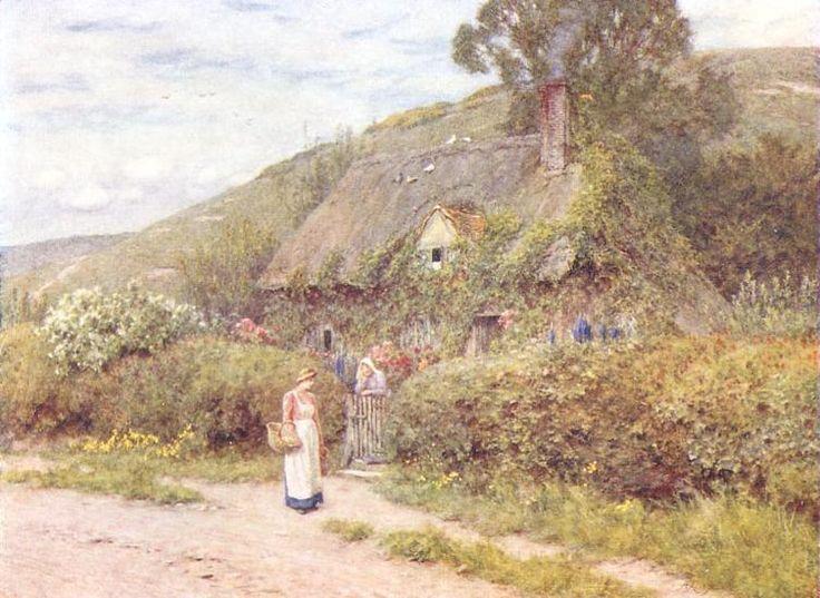 Helen Allington (1848-1926)-'a Hampshire cottage'-watercolor