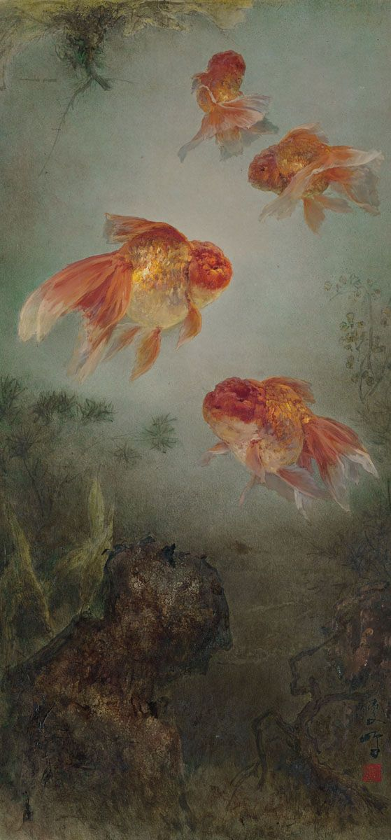 Lee Man Fong (1913-1988) - Goldfish, oil on masonite, 122 x 61 cm.